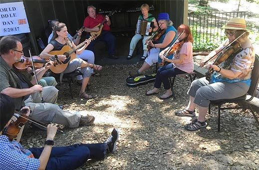 Santa Clara Valley Fiddlers Association members provide entertainment at a private event.